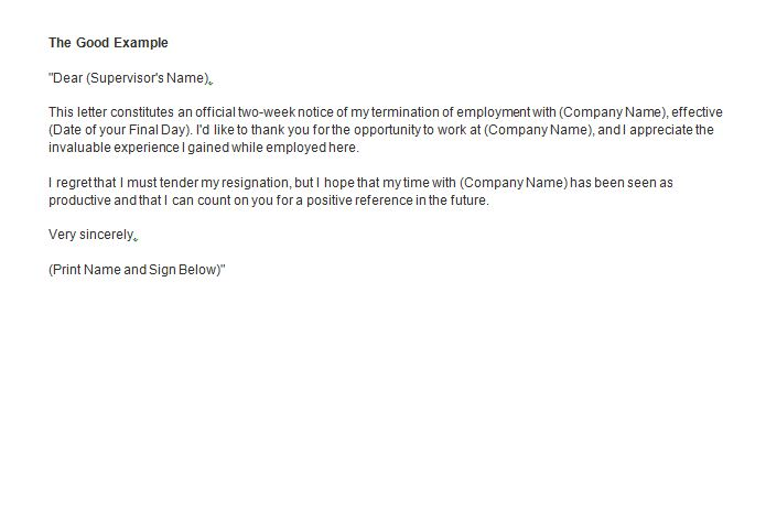 the good example Two weeks notice  SampleBusinessResumecom  SampleBusinessResumecom