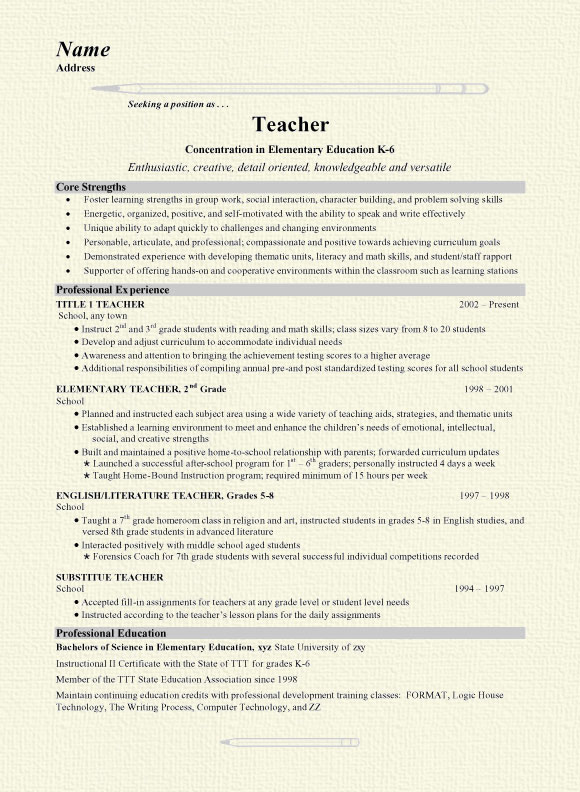 Grade School Teacher Resume Concentration In Elementary Education