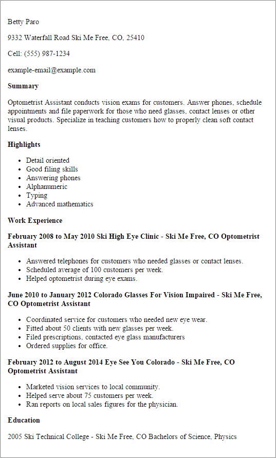 Best Optometric Technician Resume Samples