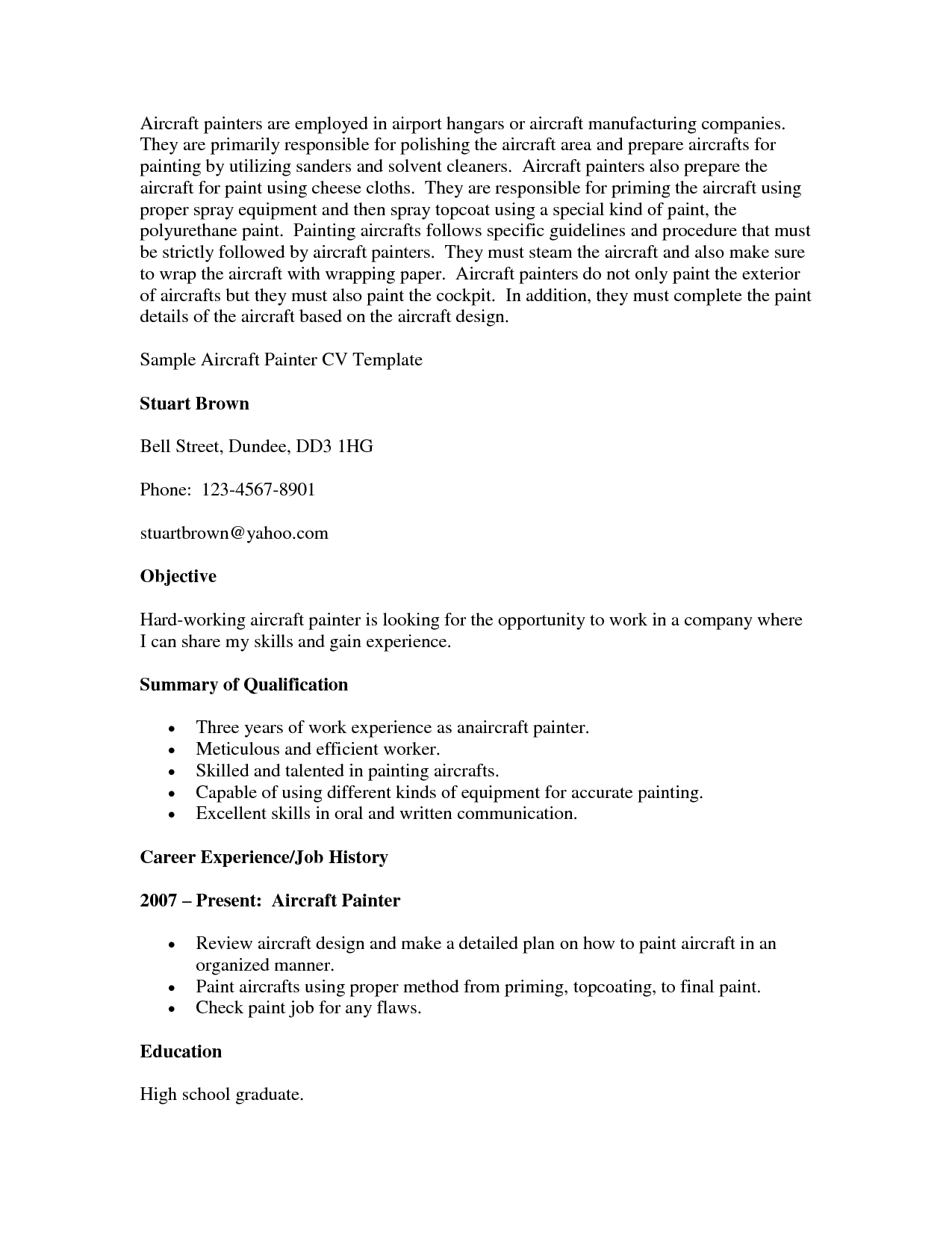 Painters Resume Sample Objective Summary Of Qualifications