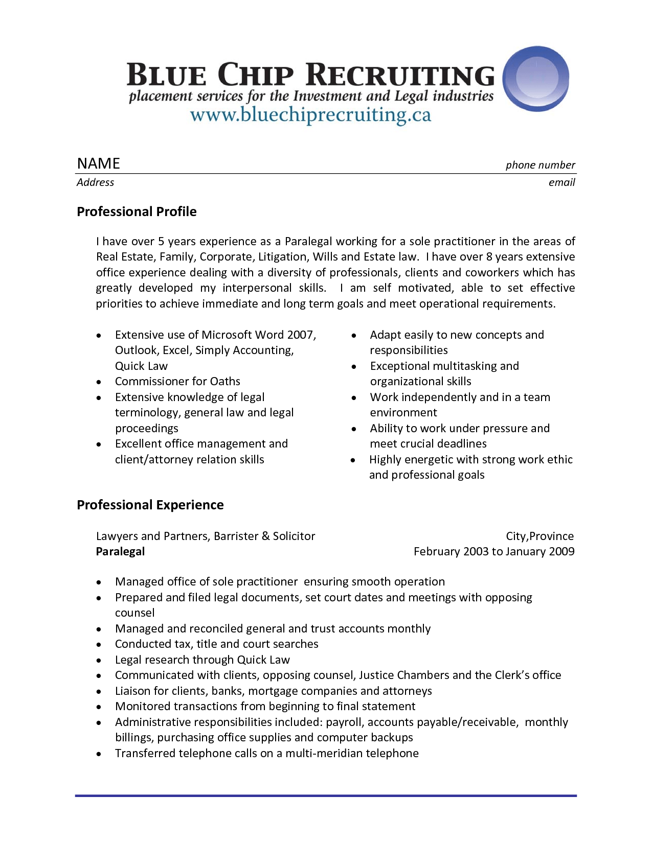 Sample Resume Legal Assistant Experience Professional Paralegal  Paralegal Skills Resume