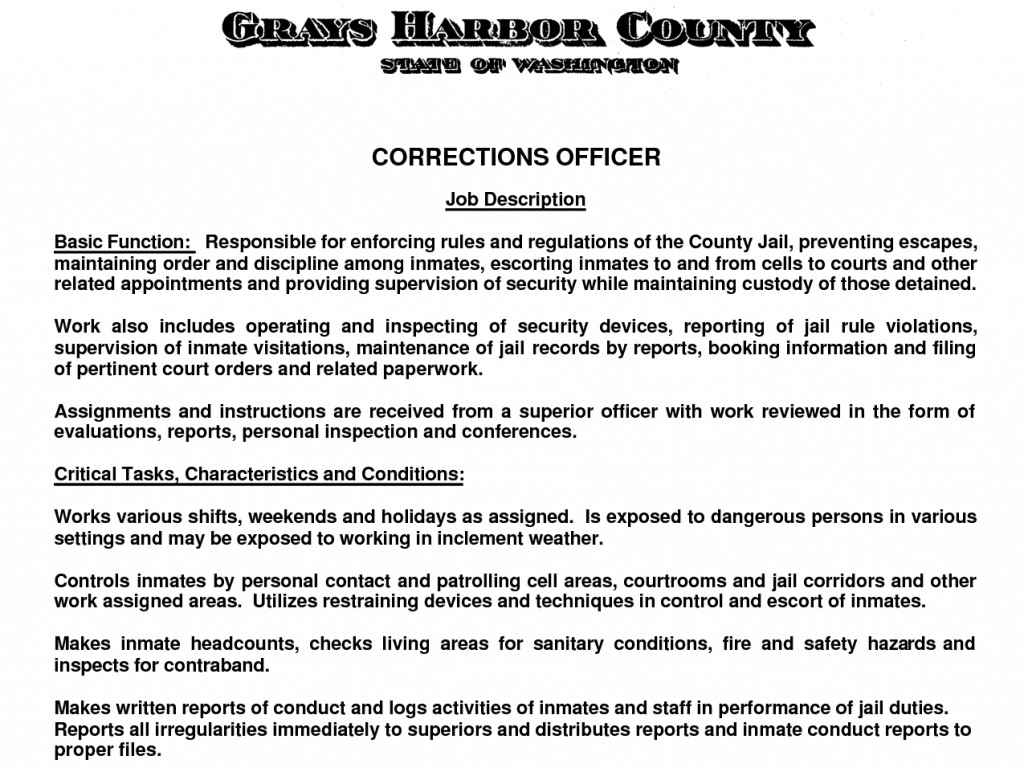 Correctional Officer Cover Letter With No Experience ...