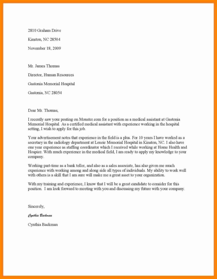 Cover Letter Samples For Medical Assistant Position | Poemview.co