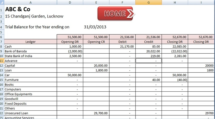 double entry bookkeeping template