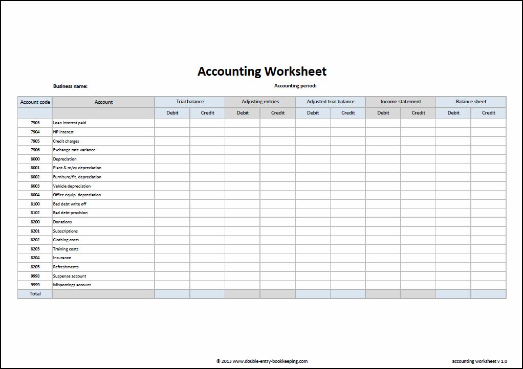 accounting worksheet bookkeeping templates for self employed ...