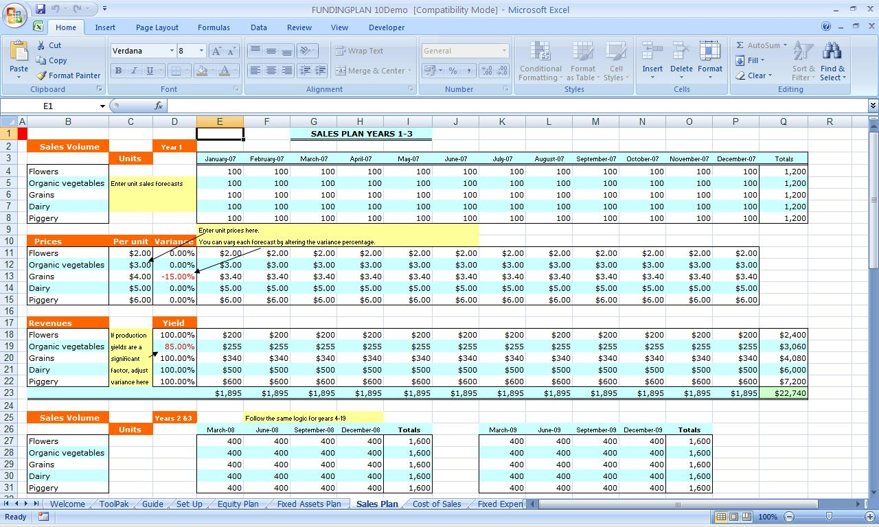 Business Financial Planning Budget Template Excel