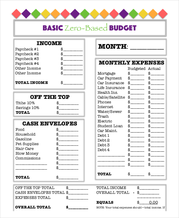 Free Basic Monthly Budget Worksheet Template Download