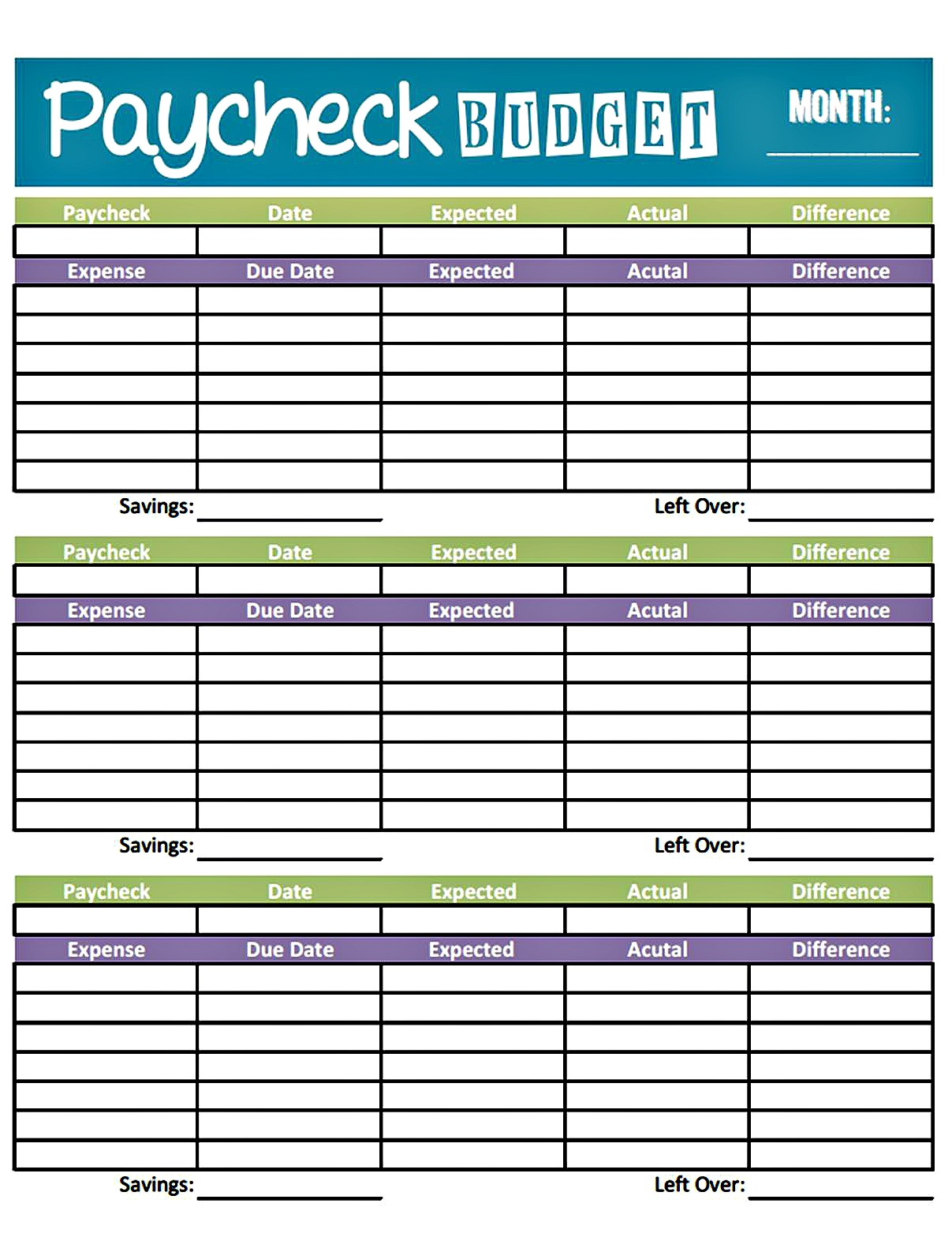 Blank Monthly Expenses Budget Worksheet