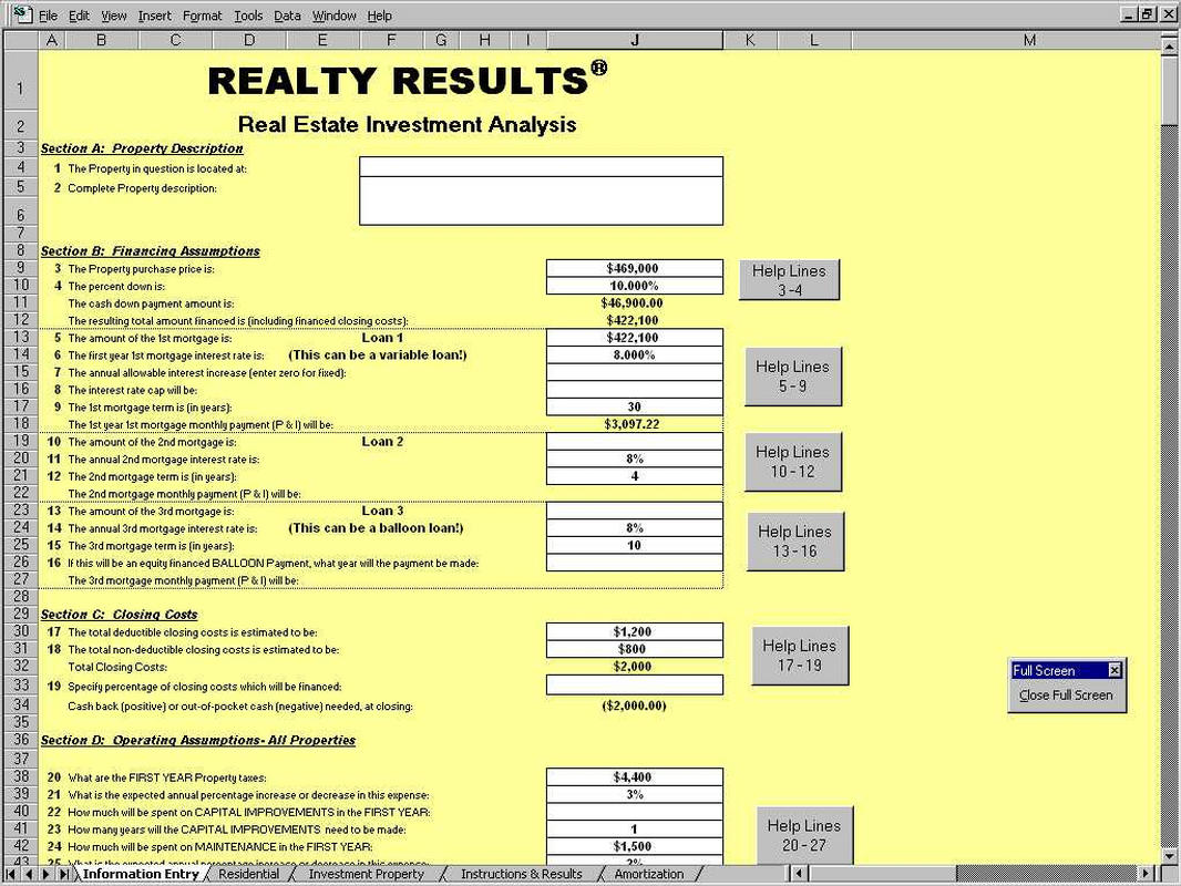 Realty Result Investment Property Spreadsheet Template