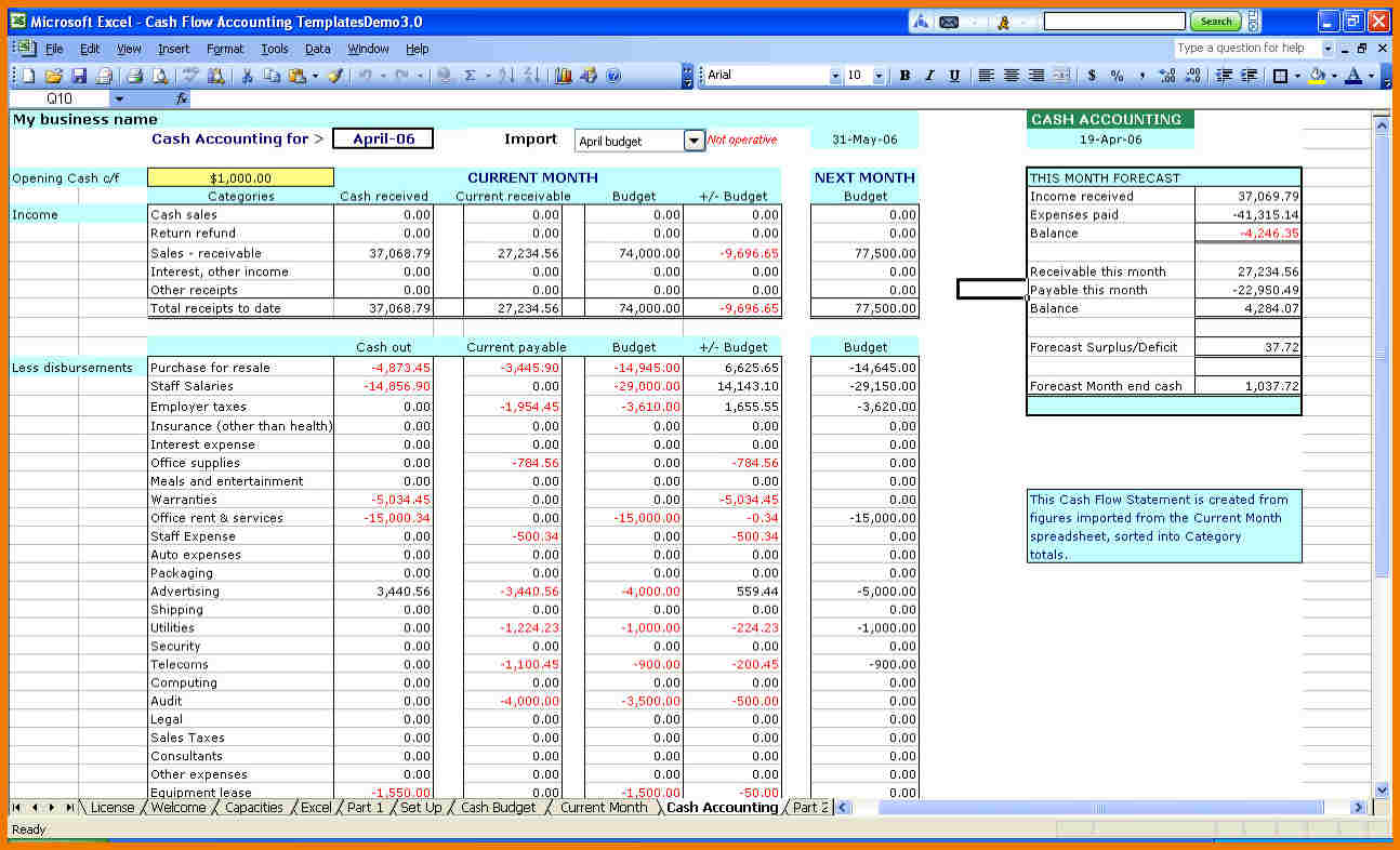 Small Business Income And Expenses Spreadsheet Excel