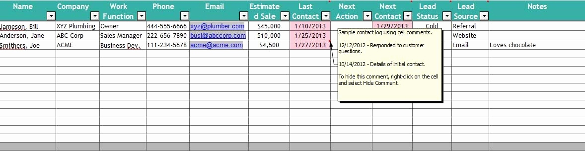 Free Excel Contact Management Spreadsheet