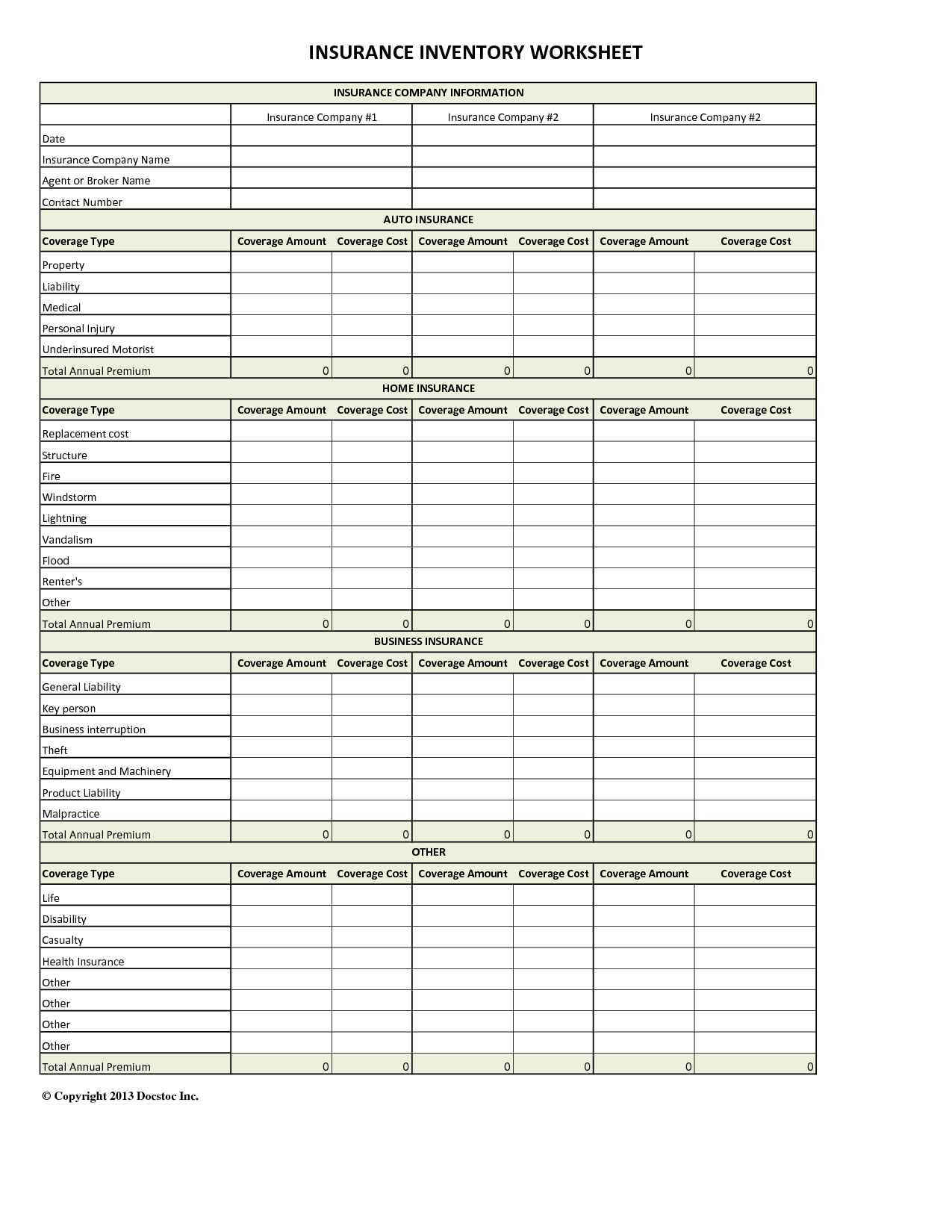 Excel Insurance Investory Spreadsheet Quote Templates