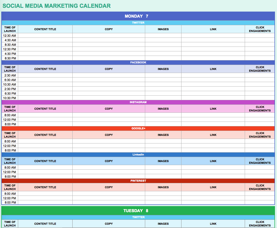 Marketing Action Plan Template Excel