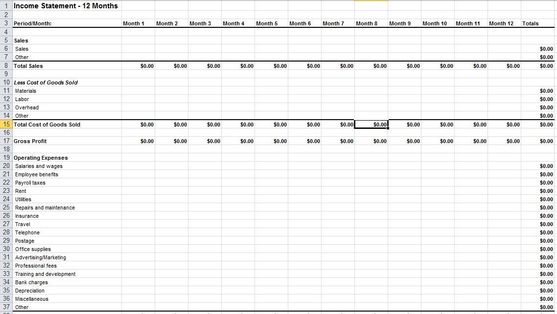 Income Statement Template Excel Free Download