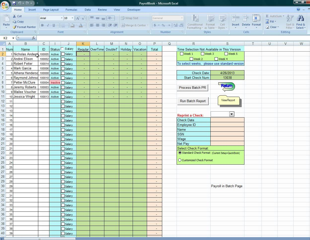 Microsoft Excel Payroll Calculator Template