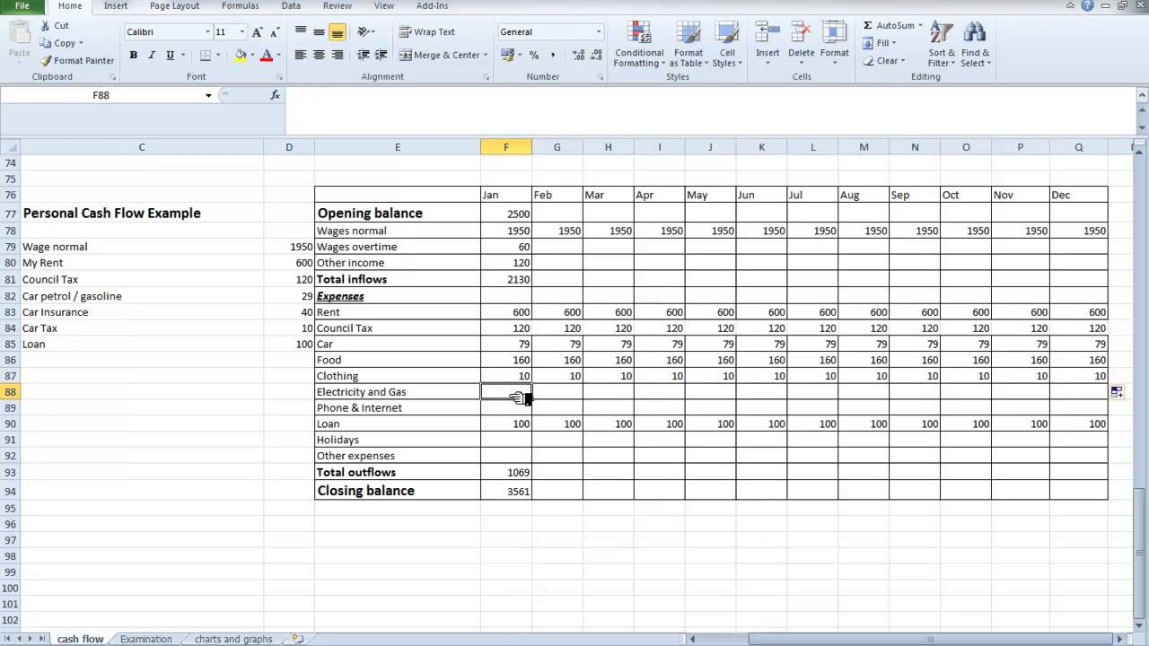 Personal Cash Flow Statement Example