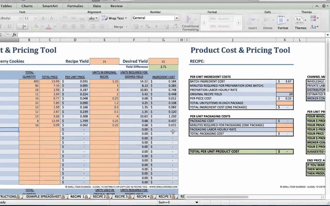 How To Create A Food Cost Spreadsheet