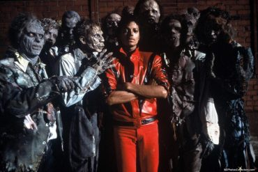 Michael Jackson on the set of Thriller