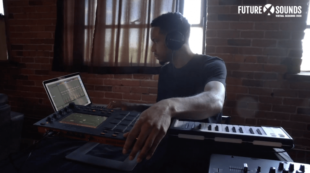 Black Milk using his MPC Touch and Ableton on his laptop for a beat set