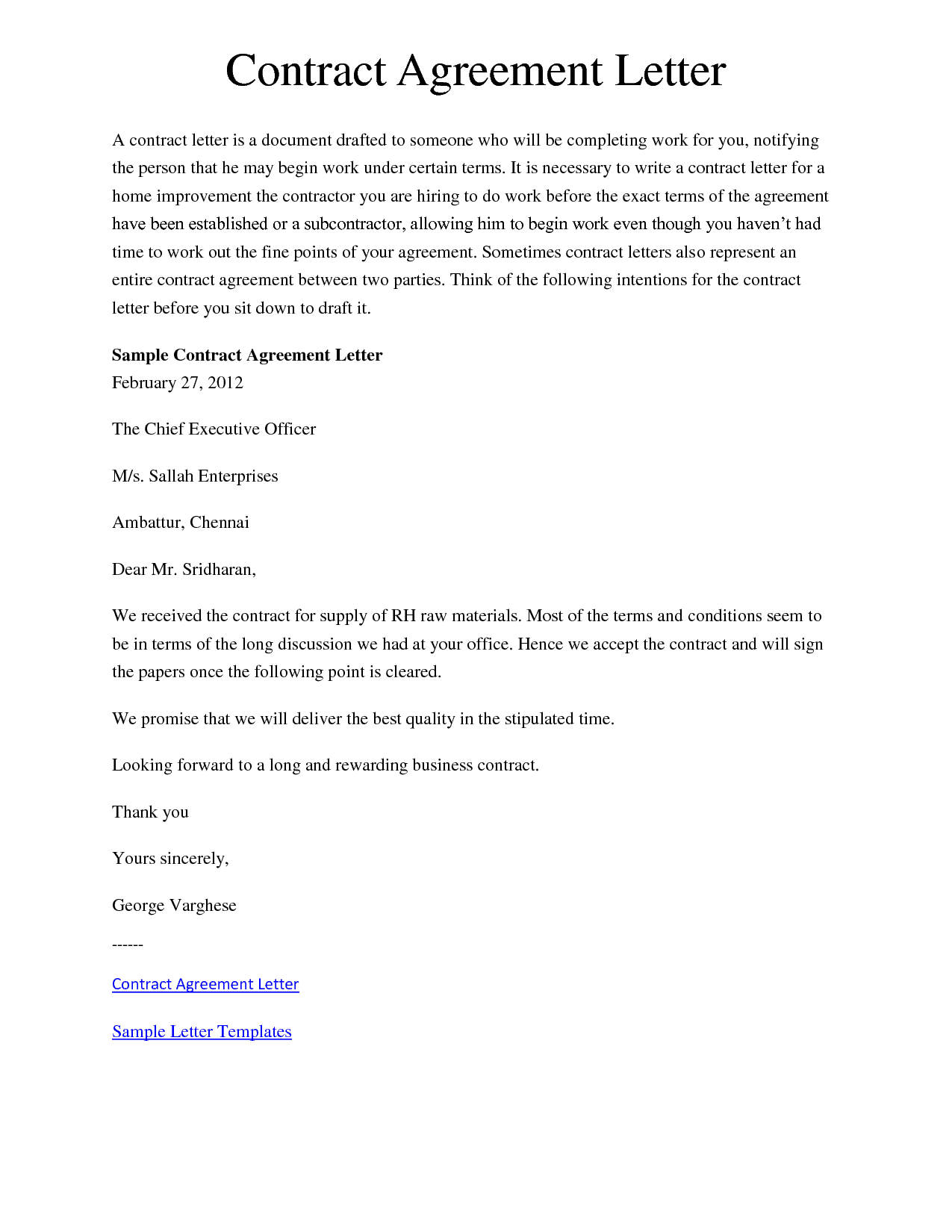 Agreement Letter Between Two People : agreement, letter, between, people, Sample, Letters, Agreement, Writing, Formats, Examples