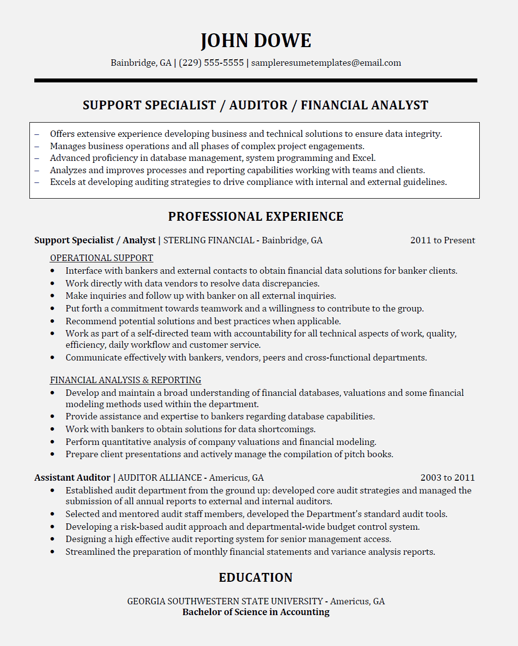 Operations Analyst Resume Financial Operations Support Analyst Resume Sample