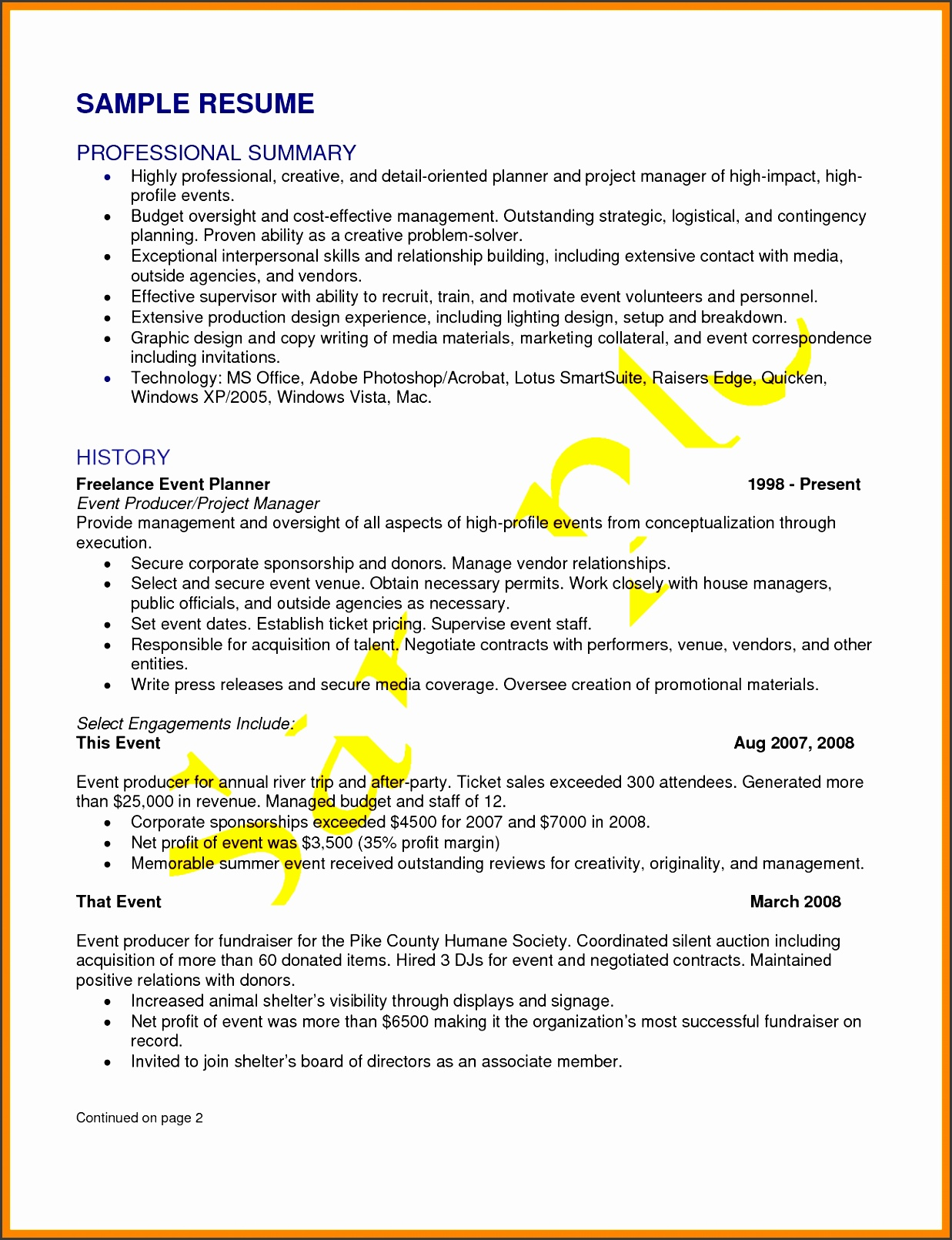 Wedding Planner Resume Sample 7 43 Event Proposal Sample Templates Sampletemplatess