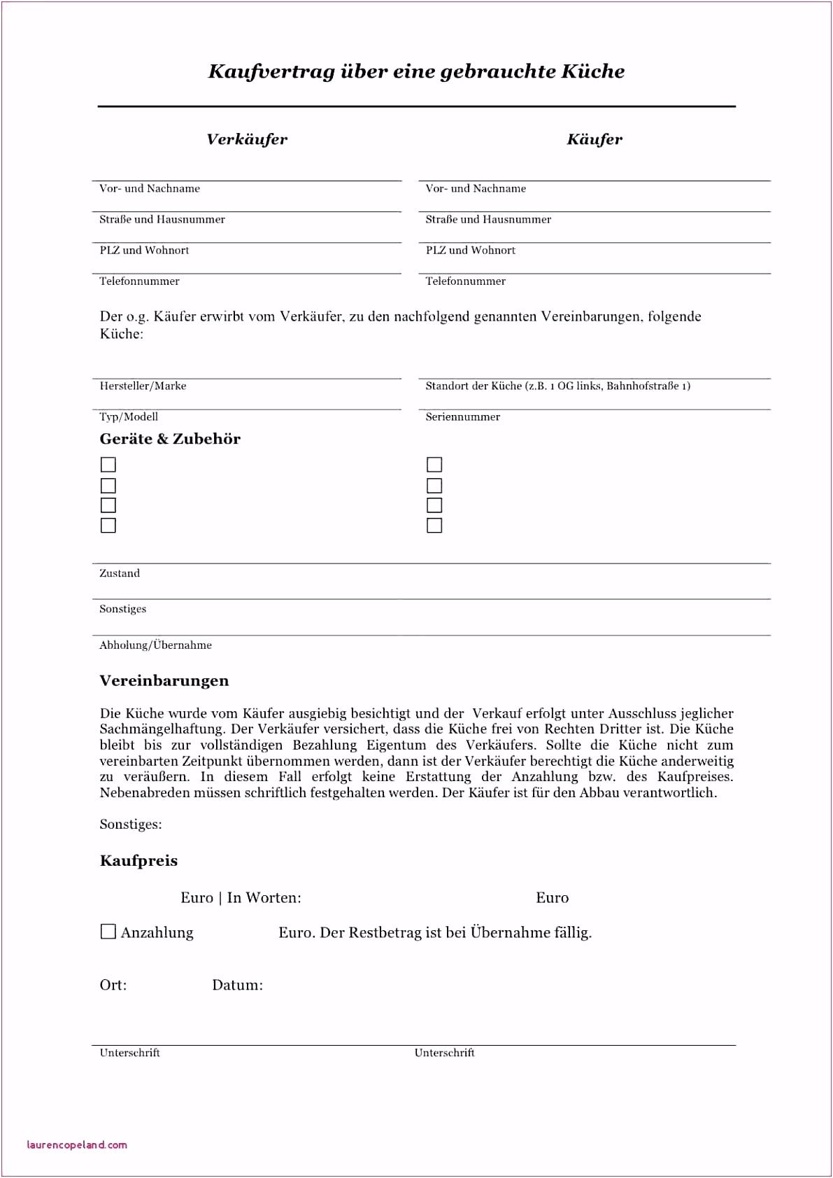 Kaufvertrag Für Küche Kostenlos  Schenkungsvertrag Muster