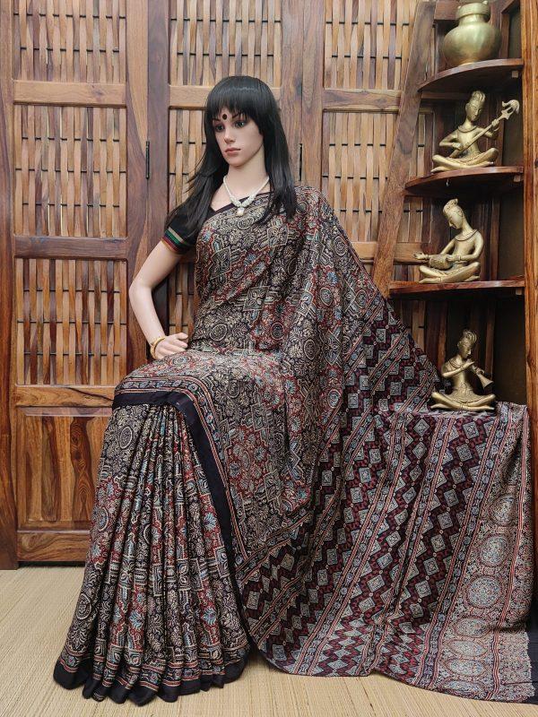 Aamodini - Ajrakh Modal Silk Saree