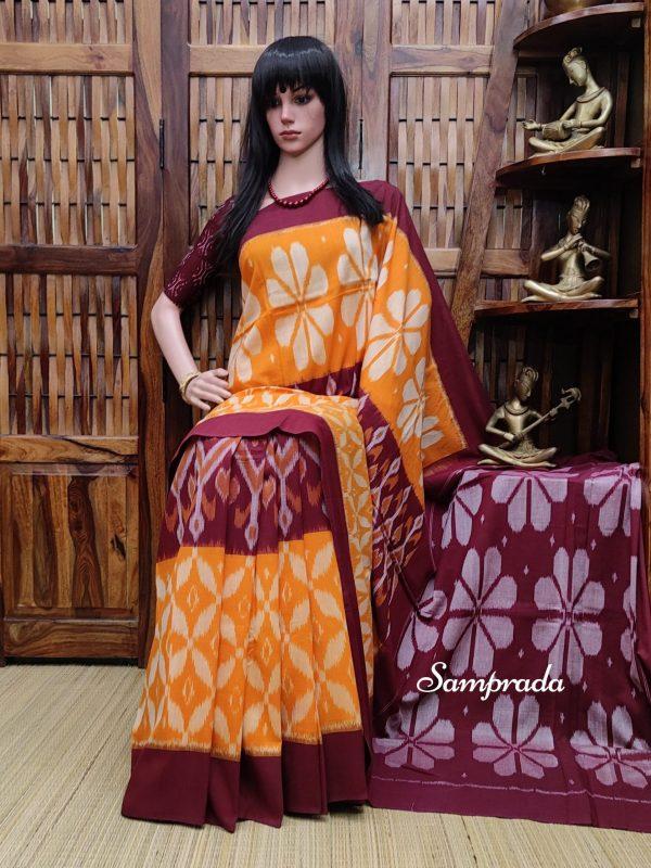 Bhaavitha - Ikkat Cotton Saree without Blouse