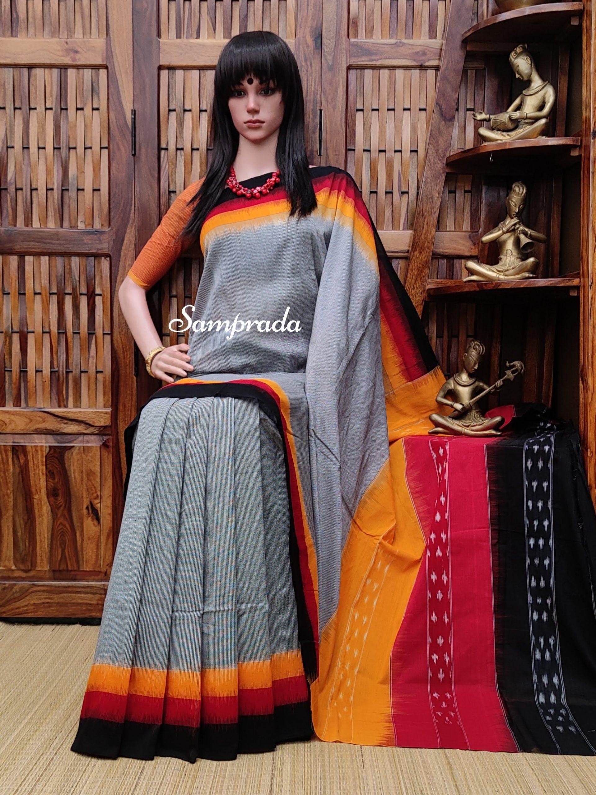 Bhanmati - Ikkat Cotton Saree without Blouse