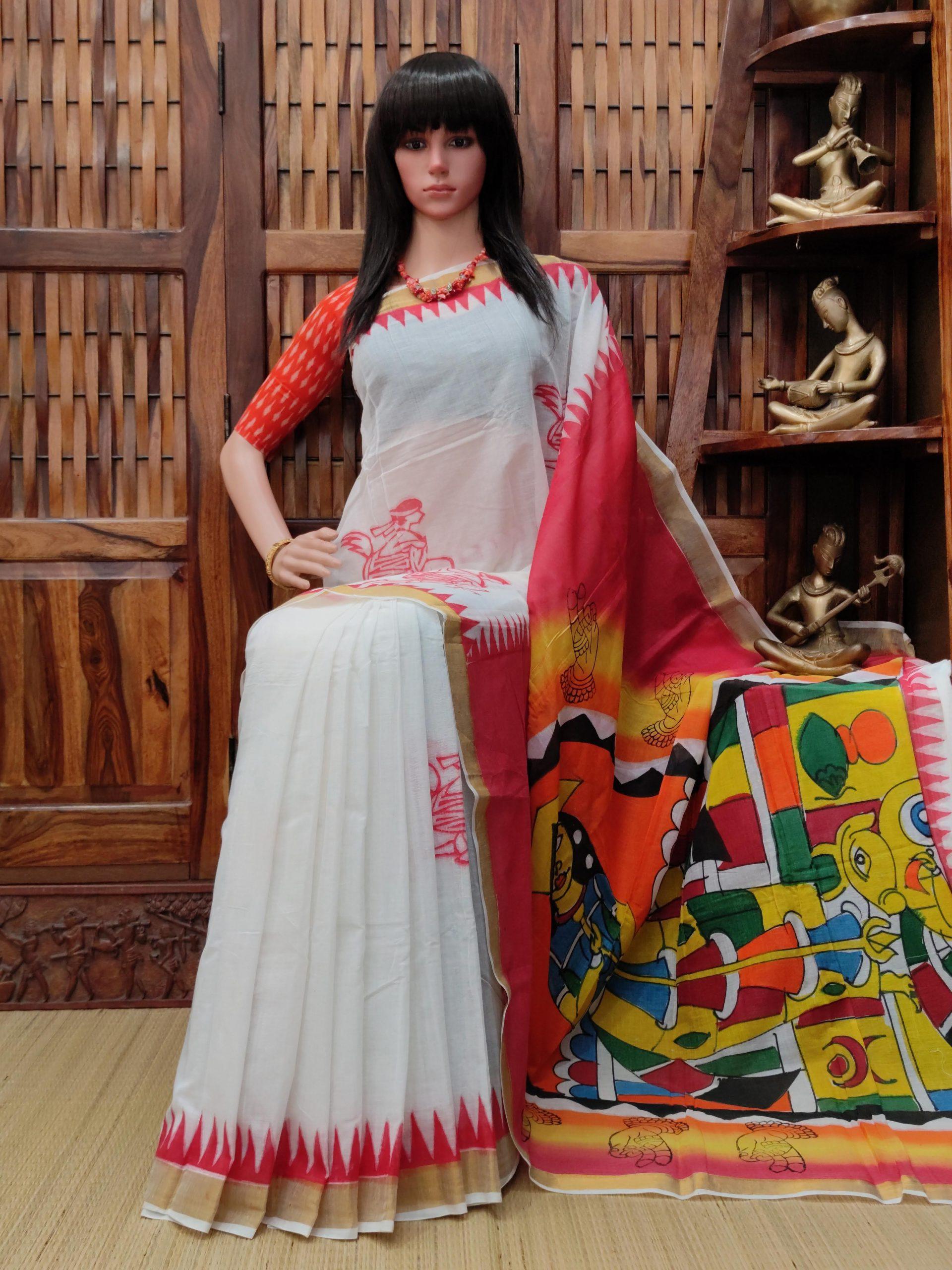 Vandya - West Bengal Painted Cotton Saree