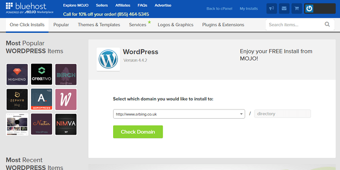 bluehost install wordpress page start a blog