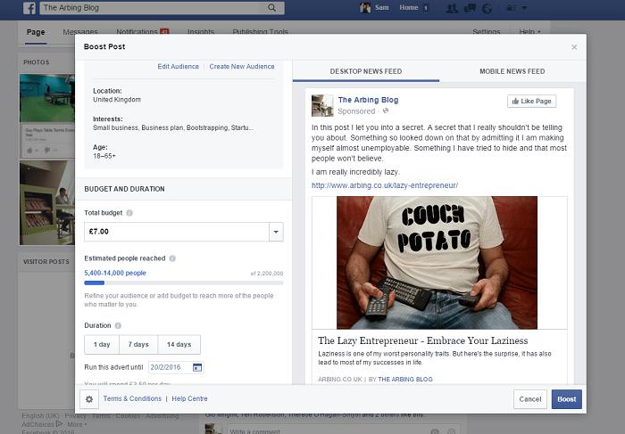 facebook post boost ppc