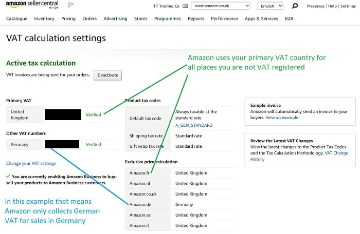 Amazon seller centrals VAT calculation settings