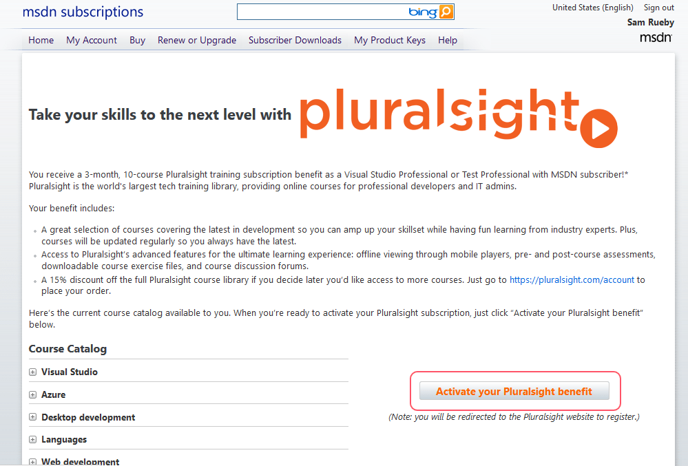 Pluralsight's site for singing up through MSDN subscription