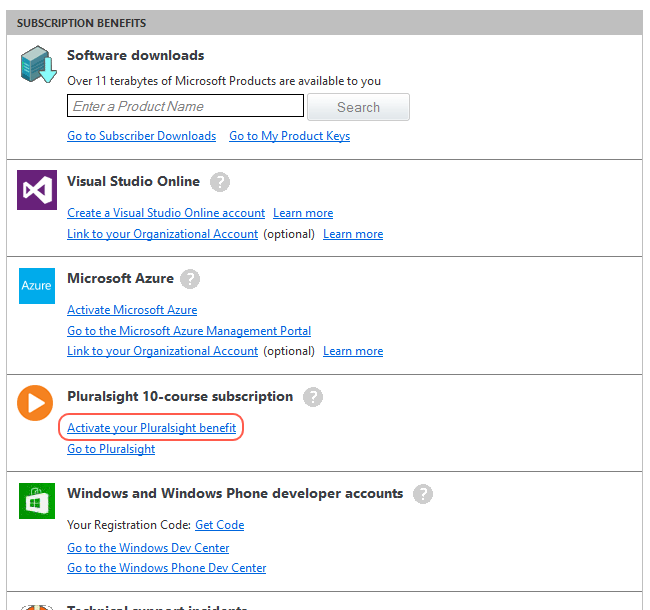 MSDN benefits screen
