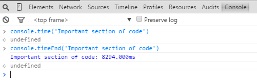Screenshot of Chrome DevTools using console.time()