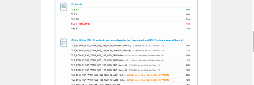 screenshot of ssllabs.com results