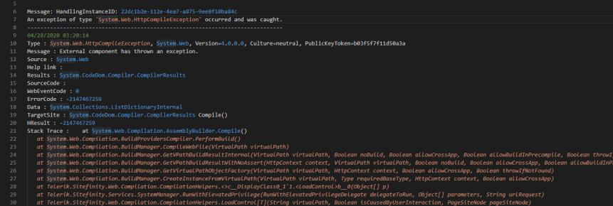 Sitefinity Error Log