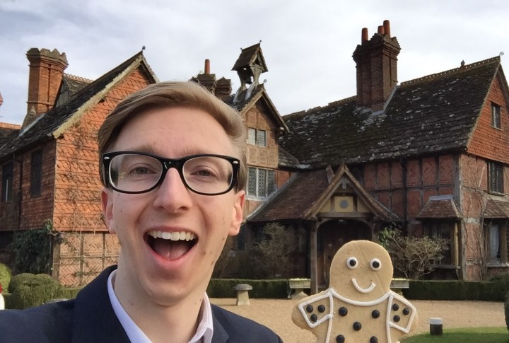 Sam French at Langshot Manor with gingerbread man