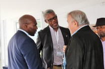 KEEPING IN TOUCH: SAMSA acting Chief Executive Officer, Mr Sobantu Tilayi (Left) and SAMSA Board Chairman, Mr Mavuso Msimang chatting to one of more than 60 maritime economic sector principals attending a networking session by SAMSA on Wednesday evening.