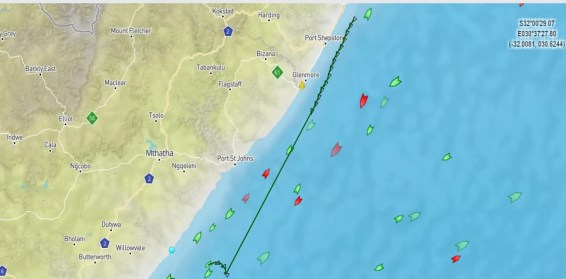 The estimated position of the BBC Shanghai as of late Wednesday night. (Illustration adopted from marinetraffic.com)