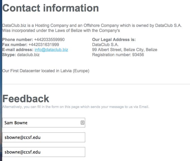 Contacting Dataclub Biz Asking Them To Take Down The Hushmail Phishing Site