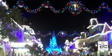 Main Street USA is the showcase for decorations during Micket's Very Merry Christmas Party.