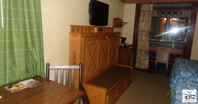 "Inside an Alligator Bayou room. The Banquette Bench Seat folds down to reveal a 63""x30"" bed."