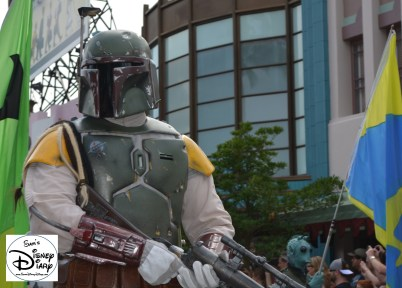 """""""Legends of the Force"""" Motorcade and Celebrity Welcome, Boba Fett survey's the crowd."""