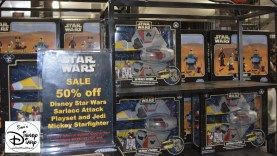The good and bad of visiting during the last day of star wars weekend. Bad News, the limited edition Pins will be sold out, the Good News 50% OFF select merchandise. (Kids and Women's T-Shirts 50% off too)