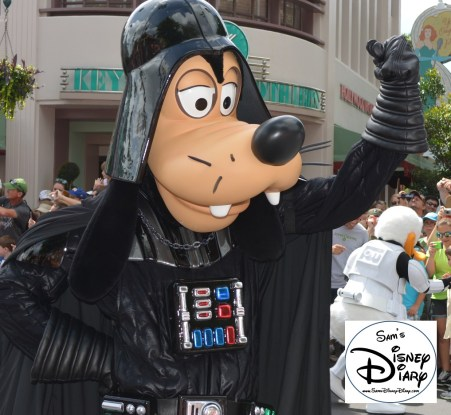 """""""Legends of the Force"""" Motorcade and Celebrity Welcome, Goofy as Darth Vader"""