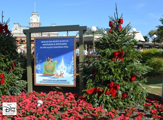 The Entrance to Walt Disney Worlds Magic Kingdom Advertising Mickey's Very Merry Christmas Party