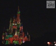 """Cinderella's Castle During """"Celebrate the Magic"""" Holiday Castle Projection Show."""